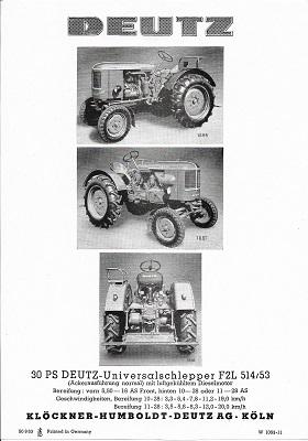 Deutz 30 PS Dieselschlepper Prospekt 10.1952