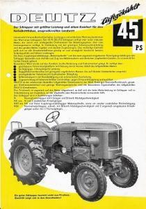 Deutz 45 PS Dieselschlepper Prospekt 8.1956