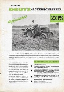 Deutz 22 PS Dieselschlepper Prospekt 9.1954
