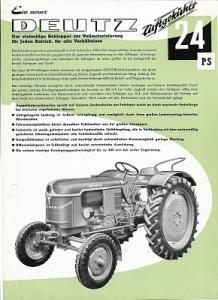 Deutz 24 PS Schlepper Prospekt 6.1956