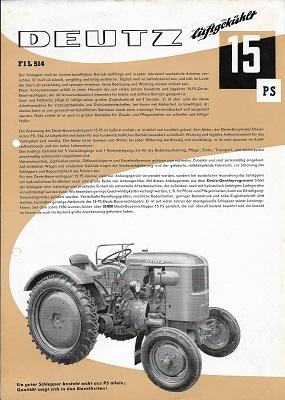 Deutz 15 PS Dieselschlepper Prospekt 11.1956