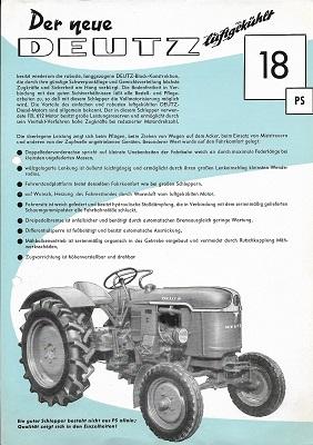 Deutz 18 PS Dieselschlepper Prospekt 8.1956