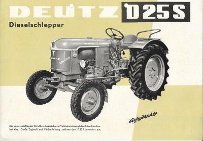 Deutz D 25 S Dieselschlepper Prospekt 4.1959