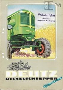 Deutz 30 PS Dieselschlepper Prospekt 9.1952