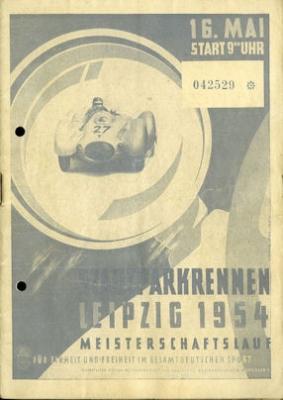 Programm Leipziger Stadtparkrennen 16.5.1954