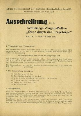 Ausschreibung 1. Acht-Berge-Wagen-Rallye (Erzgebirge) 5.1957