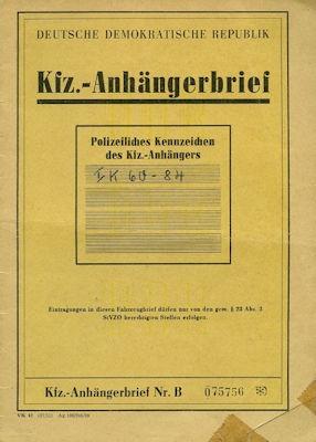 Eigenbau / DDR Lastenanhänger Fahrzeugbrief 1973