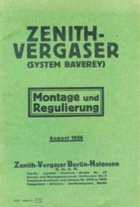 Zenith Vergaser Baverey 8.1926