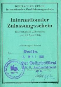 Wanderer 6/30 PS Int. Zulassungsschein Berlin 1931