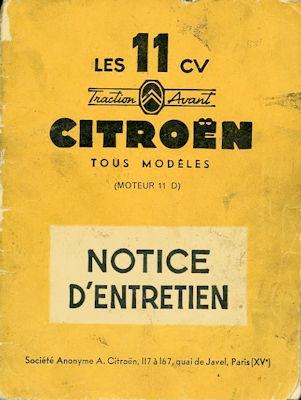 Citroen 11 CV alle Modelle Bedienungsanleitung / Notice d`Entretien 5.1956