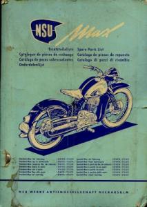 NSU Max Ersatzteilliste ca. 1955
