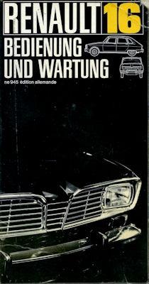 Renault R 16 Bedienungsanleitung ca. 1967