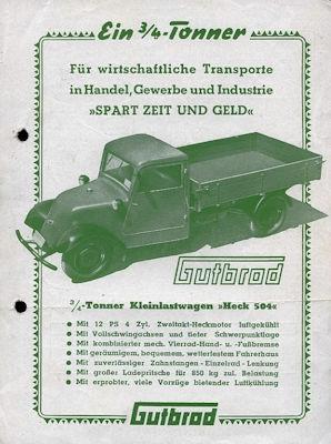 Gutbrod Heck 504 Prospekt ca. 1950