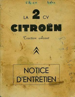Citroen 2 CV Bedienungsanleitung Notice d`Entretien 3.1961 f