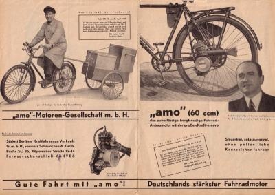 Amo Fahrradmotor Prospekt 60 ccm 1950