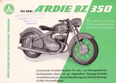 Ardie BZ 350 Prospekt 8.1955
