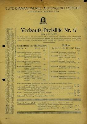 Diamant Fahrrad Preisliste 5.1933