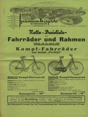 Esweco Fahrrad und Motorfahrrad Programm 1931