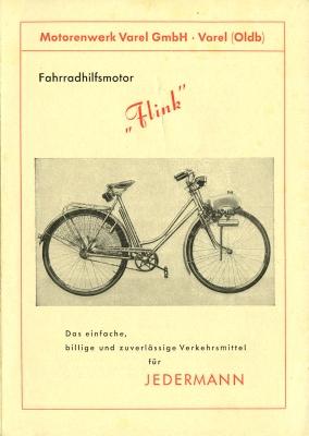 Flink Fahrradhilfsmotor Prospekt 1950er Jahre