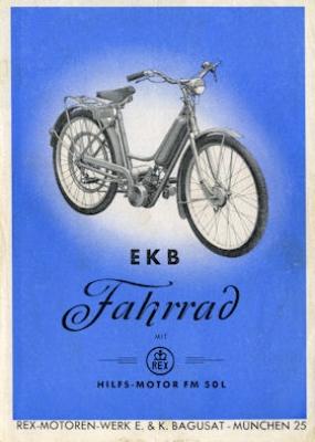 EKB Fahrrad mit Rex Hilfs-Motor FM 50 L Prospekt ca.1953
