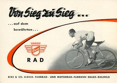 Rixe Rennräder Prospekt ca. 1970