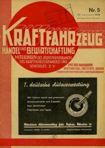 Kraftfahrzeug Handel u. Bewirtschaftung 1938 Heft 5