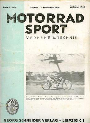 Motorrad Verkehr Sport und Technik 1930 Heft 50