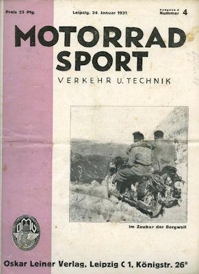 Motorrad Verkehr Sport und Technik 1931 Heft 4