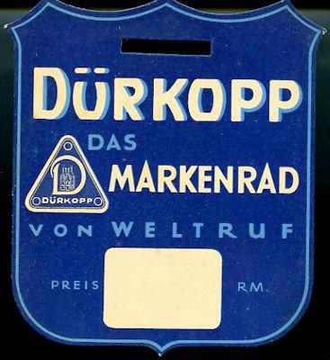 Dürkopp Preisschild 1930er Jahre