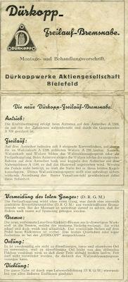 Dürkopp Freilauf-Bremsnabe 1930er Jahre