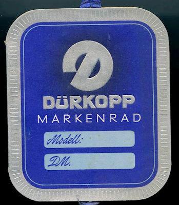 Dürkopp Preisschild 1950er Jahre