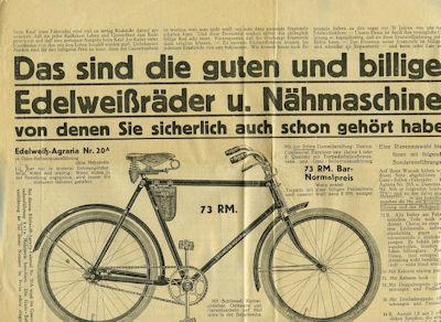 Edelweiß Fahrrad Prospekt 1930er Jahre