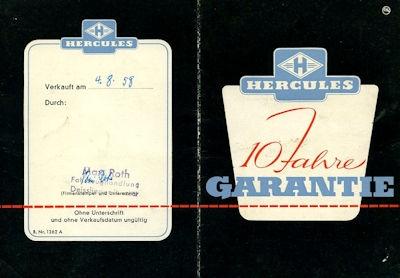 Hercules Garantiekarte 1958