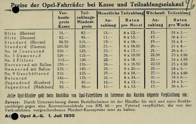 Opel Fahrrad Preisliste 7.1930