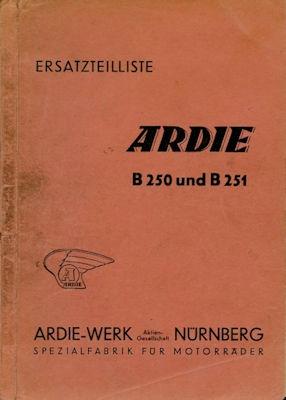 Ardie B 250 + B 251 Ersatzteilliste ca. 1951