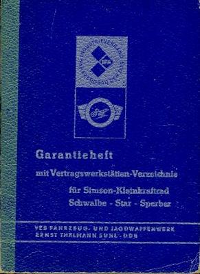 Simson Schwalbe Star Sperber Garantieheft 1970