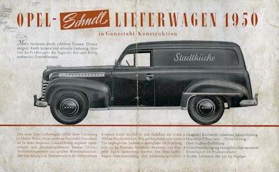 Opel Schnell-Lieferwagen Prospekt 1950