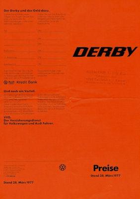 VW Derby Preisliste 3.1977