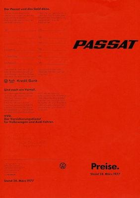 VW Passat Preisliste 3.1977