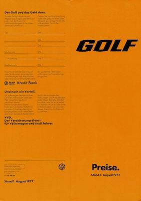 VW Golf 1 Preisliste 8.1977