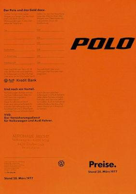 VW Polo 1 Preisliste 3.1977