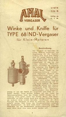 Amal Winke und Kniffe für Type 68/ND Vergaser 1938