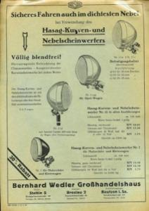 Hasag Scheinwerfer Prospekt 11.1933
