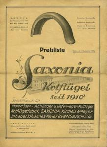 Saxonia Kotflügel Preisliste 9.1935