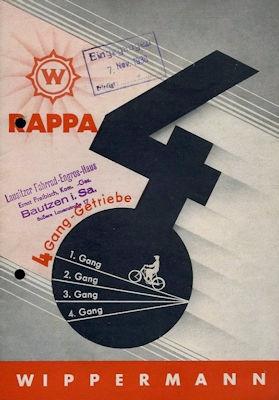 Wippermann Rappa Fahrrad 4 Gang Getriebe Prospekt 1930er Jahre