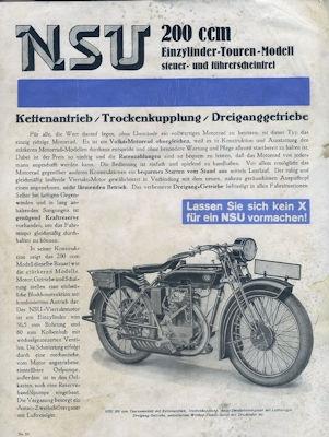 NSU 200 ccm Einzylinder Touren Modell 1929