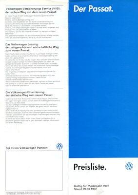 VW Passat B 3 Preisliste 3.1992