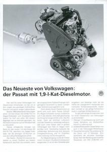 VW Passat B 3 1,9 l Kat-Dieselmotor Prospekt 2.1991