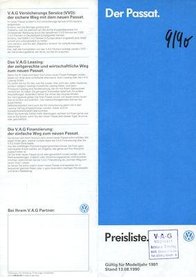 VW Passat B 3 Preisliste 8.1990