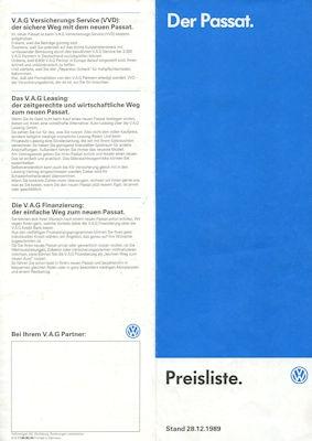 VW Passat B 3 Preisliste 12.1989